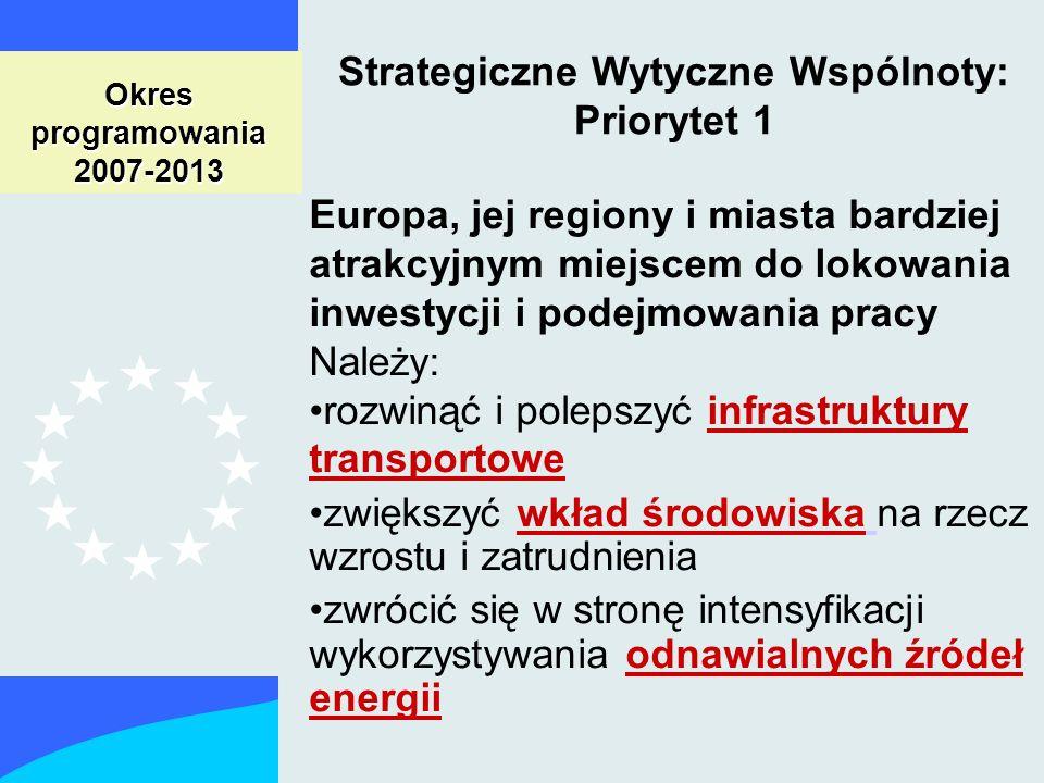 Okres programowania 2007-2013 Strategiczne Wytyczne Wspólnoty: Priorytet 1 Europa, jej regiony i miasta bardziej atrakcyjnym miejscem do lokowania inwestycji i podejmowania pracy Należy: rozwinąć i polepszyć infrastruktury transportowe zwiększyć wkład środowiska na rzecz wzrostu i zatrudnienia zwrócić się w stronę intensyfikacji wykorzystywania odnawialnych źródeł energii