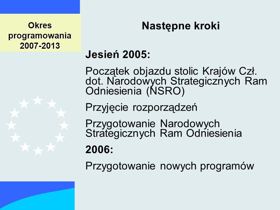 Okres programowania 2007-2013 Następne kroki Jesień 2005: Początek objazdu stolic Krajów Czł.