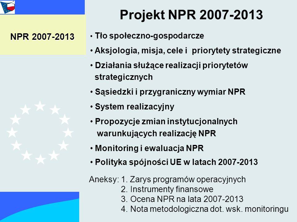 Projekt NPR 2007-2013 Tło społeczno-gospodarcze Aksjologia, misja, cele i priorytety strategiczne Działania służące realizacji priorytetów strategicznych Sąsiedzki i przygraniczny wymiar NPR System realizacyjny Propozycje zmian instytucjonalnych warunkujących realizację NPR Monitoring i ewaluacja NPR Polityka spójności UE w latach 2007-2013 NPR 2007-2013 Aneksy: 1.