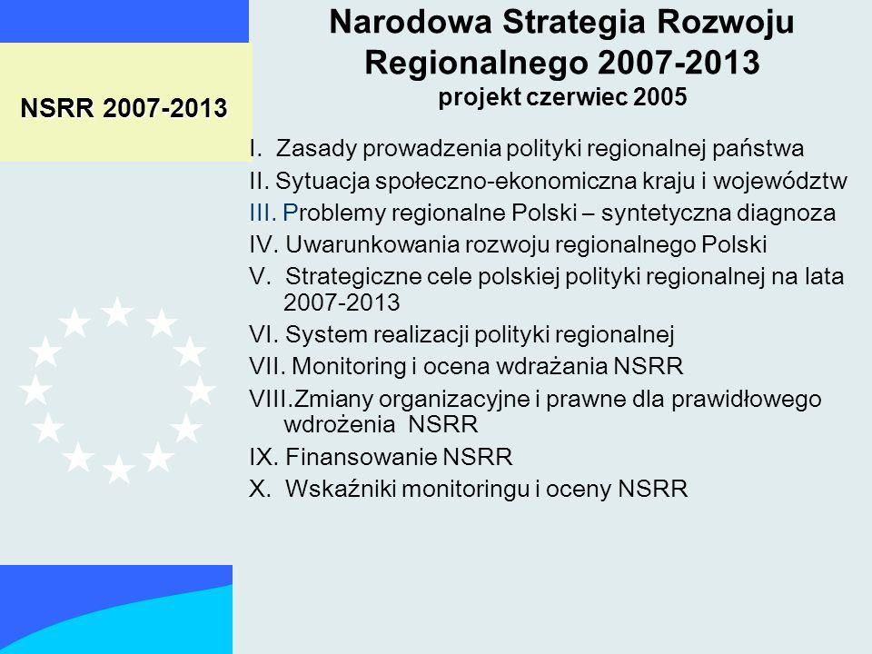 NSRR 2007-2013 I. Zasady prowadzenia polityki regionalnej państwa II.