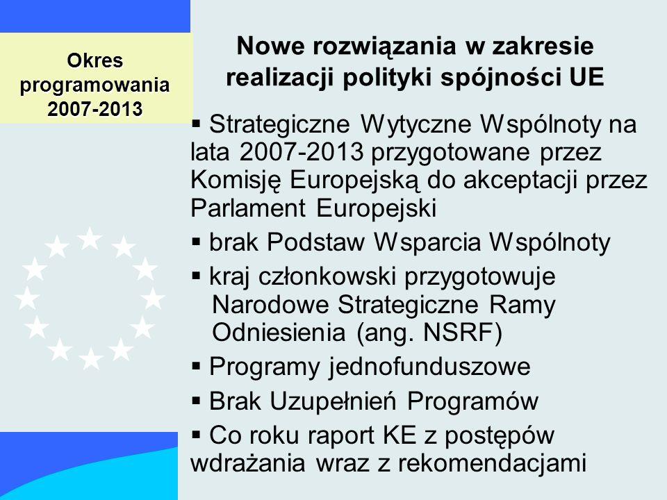 Okres programowania 2007-2013 Nowe rozwiązania w zakresie realizacji polityki spójności UE Strategiczne Wytyczne Wspólnoty na lata 2007-2013 przygotowane przez Komisję Europejską do akceptacji przez Parlament Europejski brak Podstaw Wsparcia Wspólnoty kraj członkowski przygotowuje Narodowe Strategiczne Ramy Odniesienia (ang.