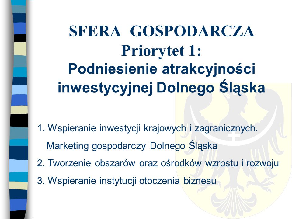 SFERA GOSPODARCZA Priorytet 2: Budowa gospodarki opartej na wiedzy (GOW) 1.