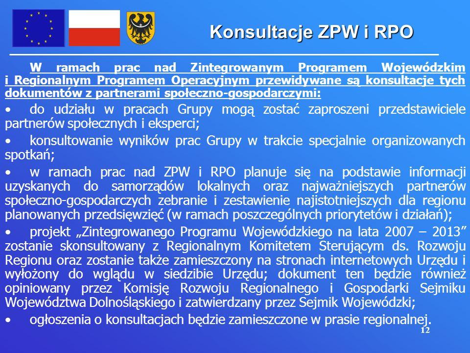12 Konsultacje ZPW i RPO W ramach prac nad Zintegrowanym Programem Wojewódzkim i Regionalnym Programem Operacyjnym przewidywane są konsultacje tych dokumentów z partnerami społeczno-gospodarczymi: do udziału w pracach Grupy mogą zostać zaproszeni przedstawiciele partnerów społecznych i eksperci; konsultowanie wyników prac Grupy w trakcie specjalnie organizowanych spotkań; w ramach prac nad ZPW i RPO planuje się na podstawie informacji uzyskanych do samorządów lokalnych oraz najważniejszych partnerów społeczno-gospodarczych zebranie i zestawienie najistotniejszych dla regionu planowanych przedsięwzięć (w ramach poszczególnych priorytetów i działań); projekt Zintegrowanego Programu Wojewódzkiego na lata 2007 – 2013 zostanie skonsultowany z Regionalnym Komitetem Sterującym ds.