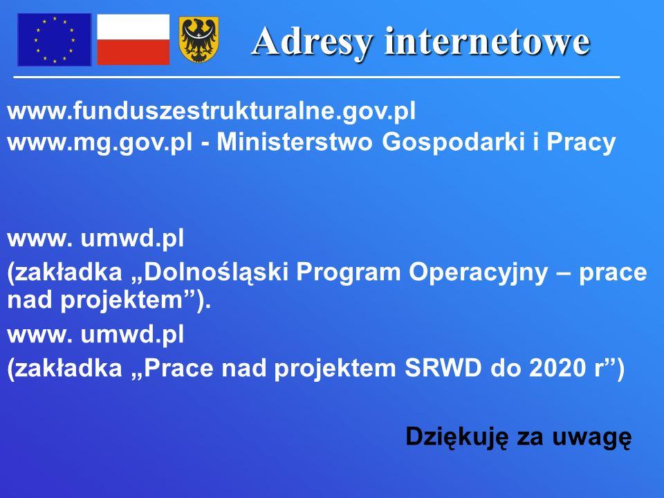 Adresy internetowe www.funduszestrukturalne.gov.pl www.mg.gov.pl - Ministerstwo Gospodarki i Pracy www.
