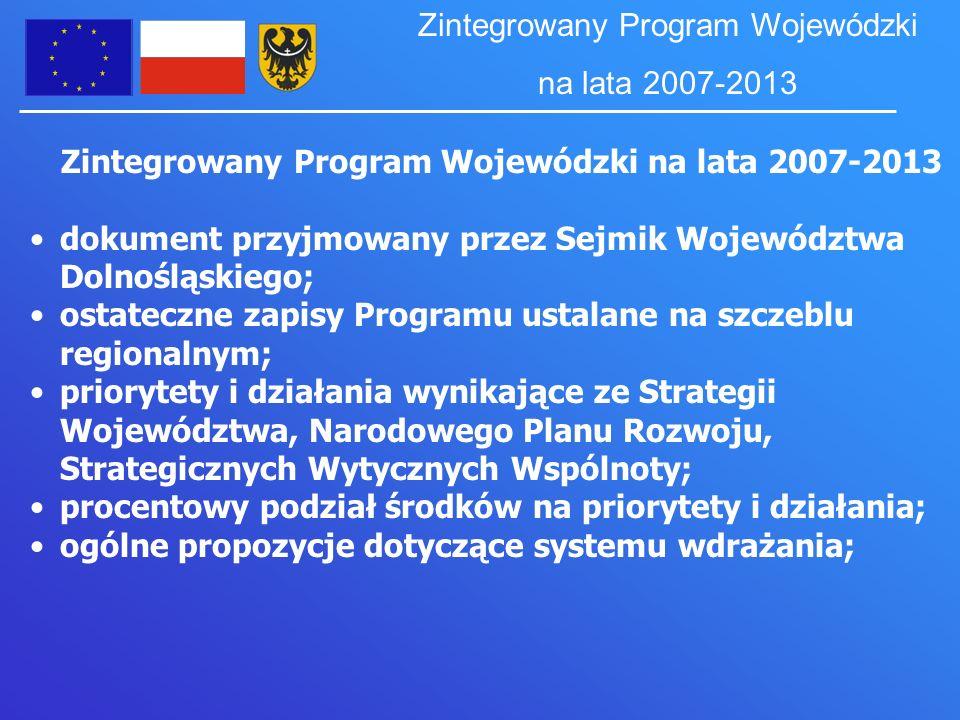 Zintegrowany Program Wojewódzki na lata 2007-2013 dokument przyjmowany przez Sejmik Województwa Dolnośląskiego; ostateczne zapisy Programu ustalane na szczeblu regionalnym; priorytety i działania wynikające ze Strategii Województwa, Narodowego Planu Rozwoju, Strategicznych Wytycznych Wspólnoty; procentowy podział środków na priorytety i działania; ogólne propozycje dotyczące systemu wdrażania; Zintegrowany Program Wojewódzki na lata 2007-2013
