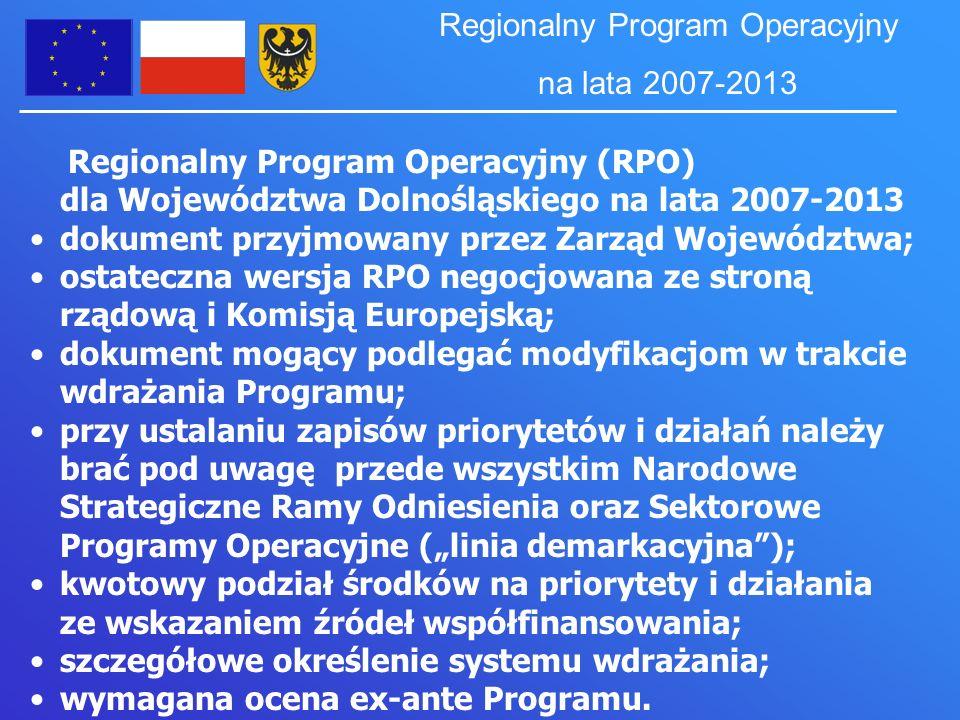 Regionalny Program Operacyjny (RPO) dla Województwa Dolnośląskiego na lata 2007-2013 dokument przyjmowany przez Zarząd Województwa; ostateczna wersja RPO negocjowana ze stroną rządową i Komisją Europejską; dokument mogący podlegać modyfikacjom w trakcie wdrażania Programu; przy ustalaniu zapisów priorytetów i działań należy brać pod uwagę przede wszystkim Narodowe Strategiczne Ramy Odniesienia oraz Sektorowe Programy Operacyjne (linia demarkacyjna); kwotowy podział środków na priorytety i działania ze wskazaniem źródeł współfinansowania; szczegółowe określenie systemu wdrażania; wymagana ocena ex-ante Programu.