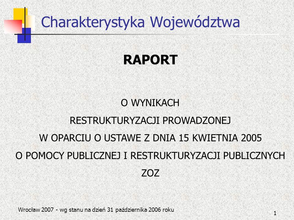 1 Charakterystyka Województwa Wrocław 2007 - wg stanu na dzień 31 października 2006 roku RAPORT O WYNIKACH RESTRUKTURYZACJI PROWADZONEJ W OPARCIU O US