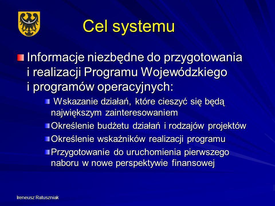 Ireneusz Ratuszniak Cel systemu Informacje niezbędne do przygotowania i realizacji Programu Wojewódzkiego i programów operacyjnych: Wskazanie działań,