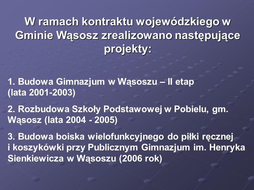 W ramach kontraktu wojewódzkiego w Gminie Wąsosz zrealizowano następujące projekty: 1.