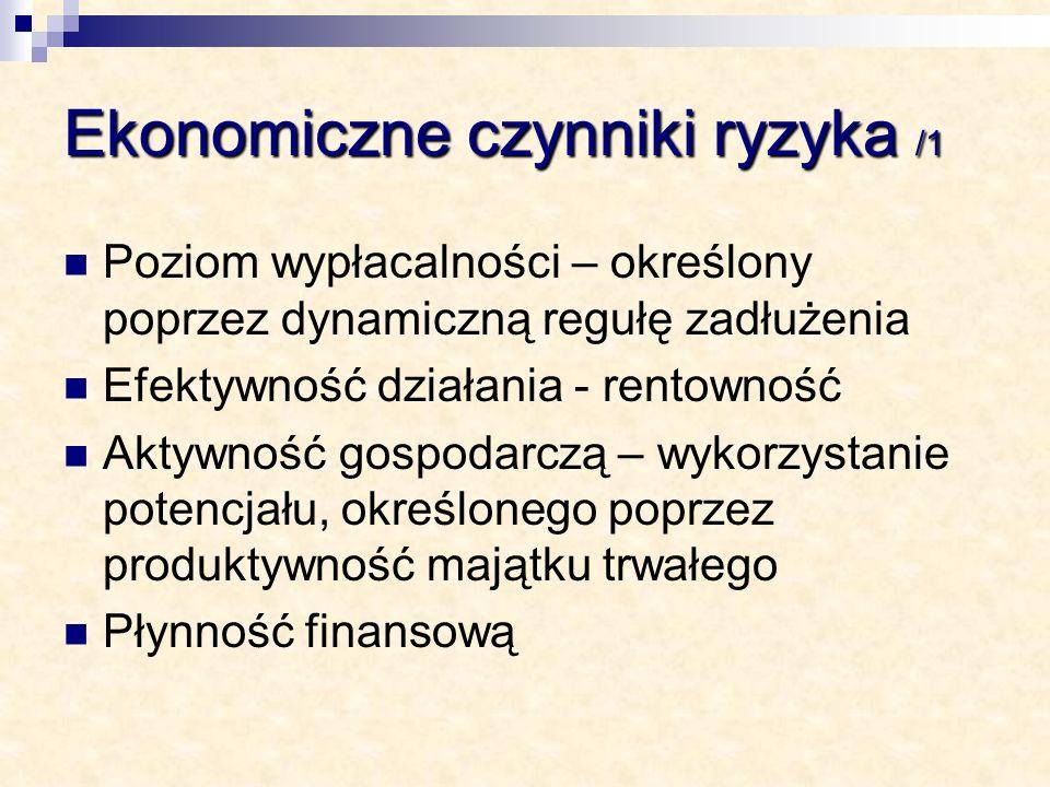 Ekonomiczne czynniki ryzyka /1 Poziom wypłacalności – określony poprzez dynamiczną regułę zadłużenia Efektywność działania - rentowność Aktywność gosp