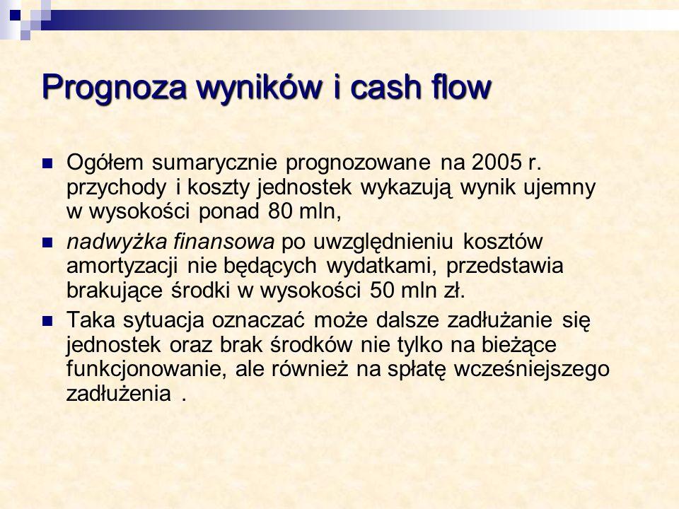 Prognoza wyników i cash flow Ogółem sumarycznie prognozowane na 2005 r. przychody i koszty jednostek wykazują wynik ujemny w wysokości ponad 80 mln, n