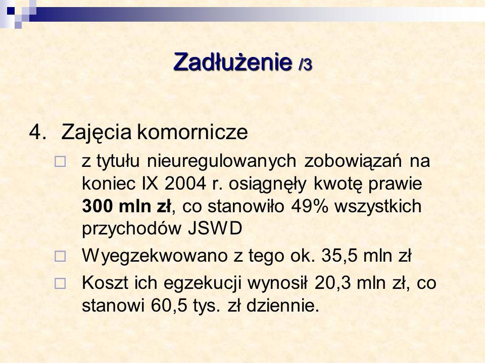 Zadłużenie /3 4.Zajęcia komornicze z tytułu nieuregulowanych zobowiązań na koniec IX 2004 r. osiągnęły kwotę prawie 300 mln zł, co stanowiło 49% wszys