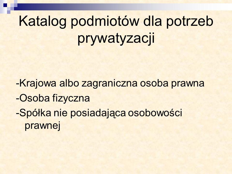 Katalog podmiotów dla potrzeb prywatyzacji -Krajowa albo zagraniczna osoba prawna -Osoba fizyczna -Spółka nie posiadająca osobowości prawnej