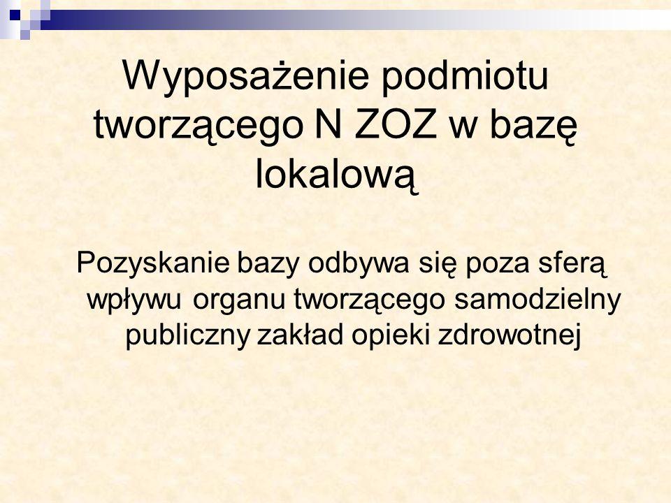 Wyposażenie podmiotu tworzącego N ZOZ w bazę lokalową Pozyskanie bazy odbywa się poza sferą wpływu organu tworzącego samodzielny publiczny zakład opie