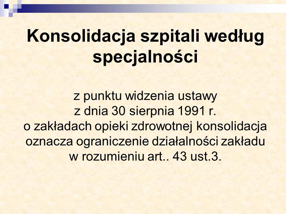 Konsolidacja szpitali według specjalności z punktu widzenia ustawy z dnia 30 sierpnia 1991 r. o zakładach opieki zdrowotnej konsolidacja oznacza ogran