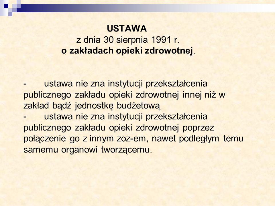 USTAWA z dnia 30 sierpnia 1991 r. o zakładach opieki zdrowotnej. - ustawa nie zna instytucji przekształcenia publicznego zakładu opieki zdrowotnej inn