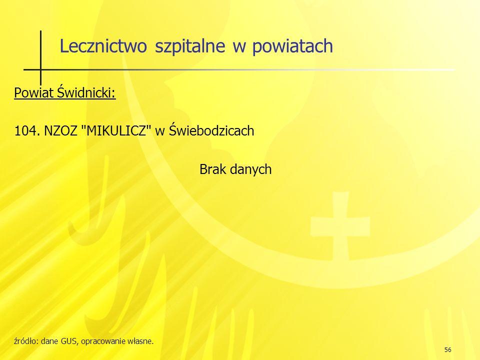 56 Lecznictwo szpitalne w powiatach Powiat Świdnicki: 104.
