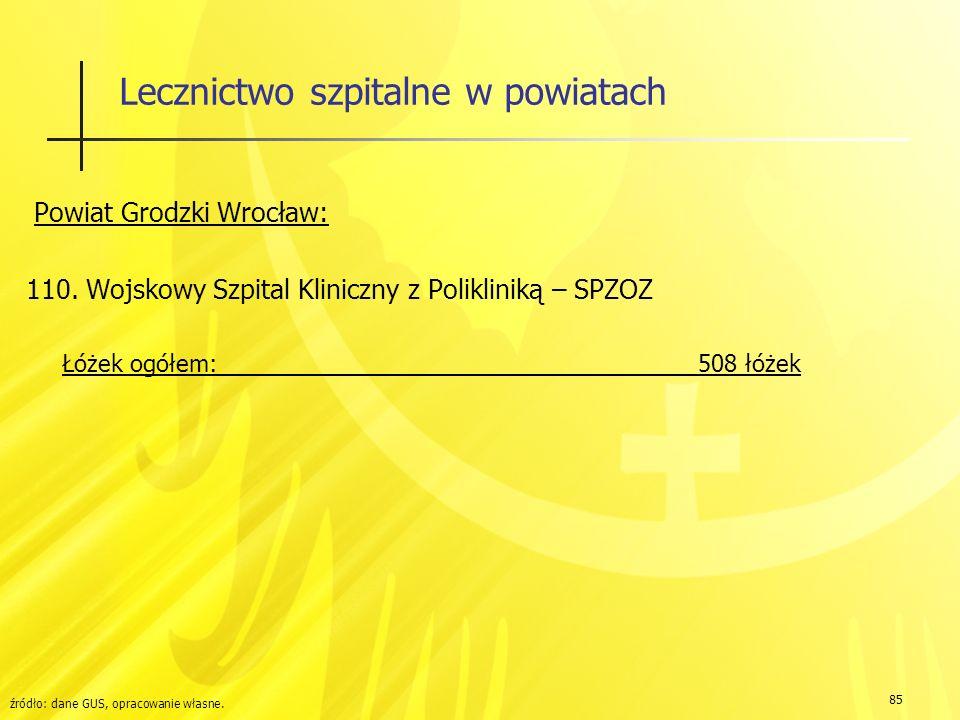 85 Lecznictwo szpitalne w powiatach Powiat Grodzki Wrocław: 110.