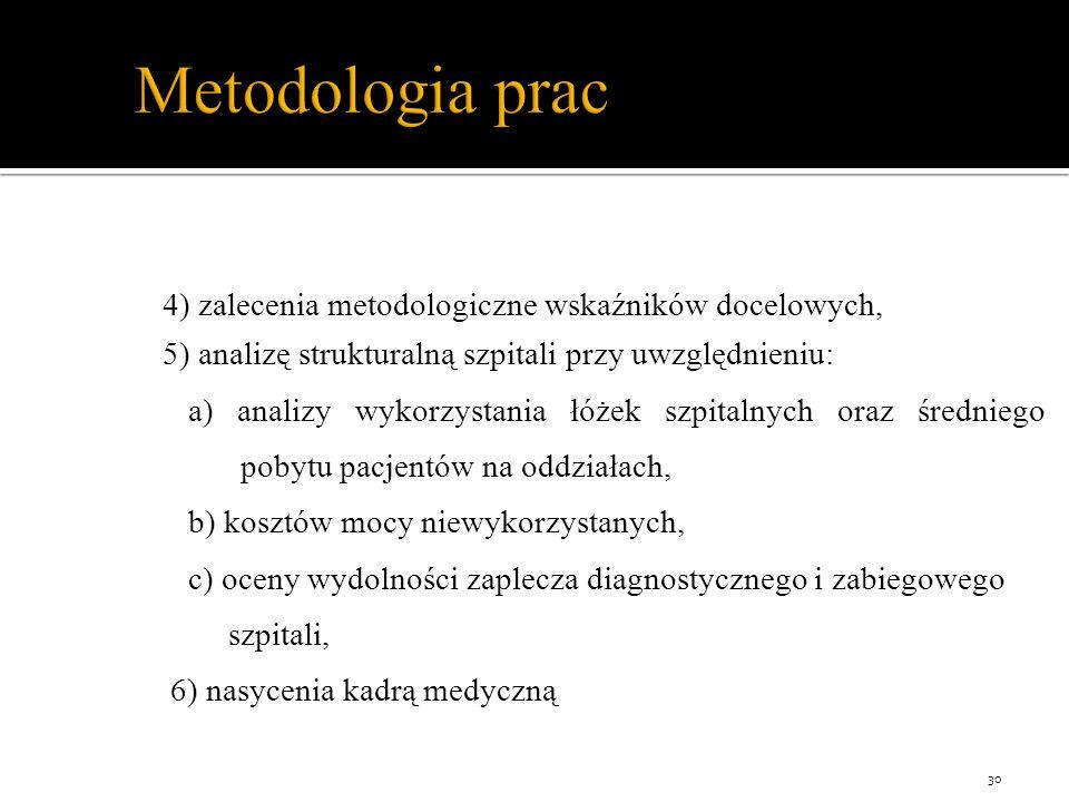 Metodologia prac 4) zalecenia metodologiczne wskaźników docelowych, 5) analizę strukturalną szpitali przy uwzględnieniu: a) analizy wykorzystania łóżek szpitalnych oraz średniego pobytu pacjentów na oddziałach, b) kosztów mocy niewykorzystanych, c) oceny wydolności zaplecza diagnostycznego i zabiegowego szpitali, 6) nasycenia kadrą medyczną 30