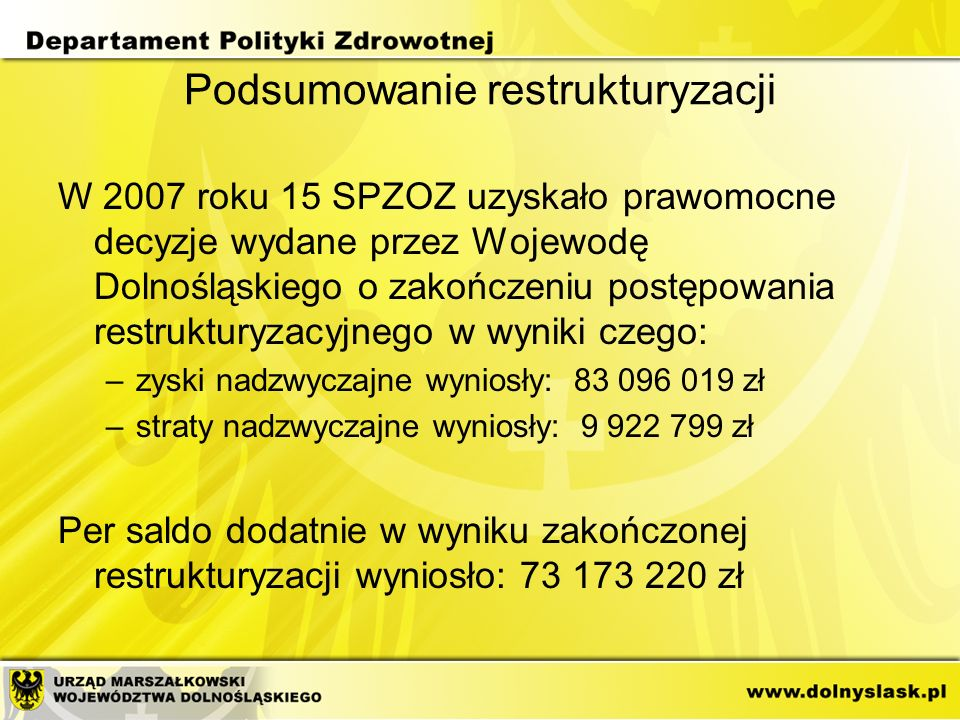 Podsumowanie restrukturyzacji W 2007 roku 15 SPZOZ uzyskało prawomocne decyzje wydane przez Wojewodę Dolnośląskiego o zakończeniu postępowania restruk