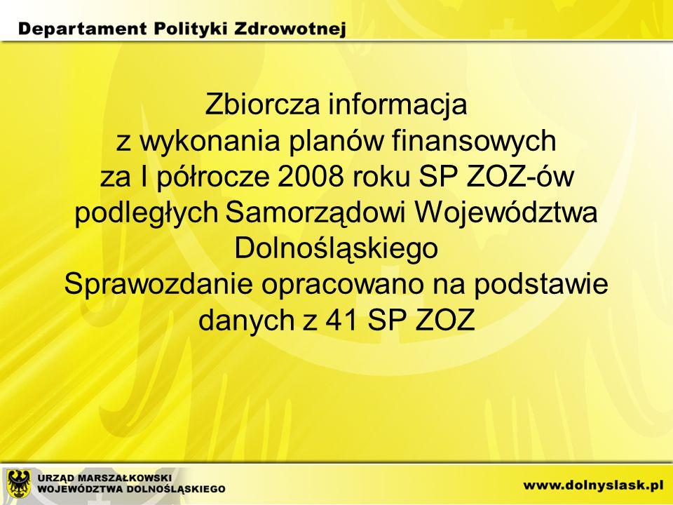 Zbiorcza informacja z wykonania planów finansowych za I półrocze 2008 roku SP ZOZ-ów podległych Samorządowi Województwa Dolnośląskiego Sprawozdanie opracowano na podstawie danych z 41 SP ZOZ