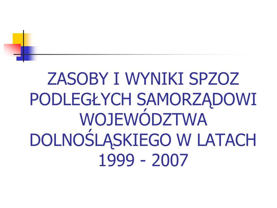 ZASOBY I WYNIKI SPZOZ PODLEGŁYCH SAMORZĄDOWI WOJEWÓDZTWA DOLNOŚLĄSKIEGO W LATACH 1999 - 2007