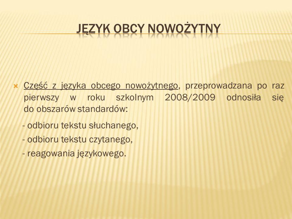 Część z języka obcego nowożytnego, przeprowadzana po raz pierwszy w roku szkolnym 2008/2009 odnosiła się do obszarów standardów: - odbioru tekstu słuchanego, - odbioru tekstu czytanego, - reagowania językowego.