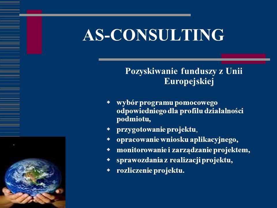 AS-CONSULTING Pozyskiwanie funduszy z Unii Europejskiej wybór programu pomocowego odpowiedniego dla profilu działalności podmiotu, przygotowanie projektu, opracowanie wniosku aplikacyjnego, monitorowanie i zarządzanie projektem, sprawozdania z realizacji projektu, rozliczenie projektu.