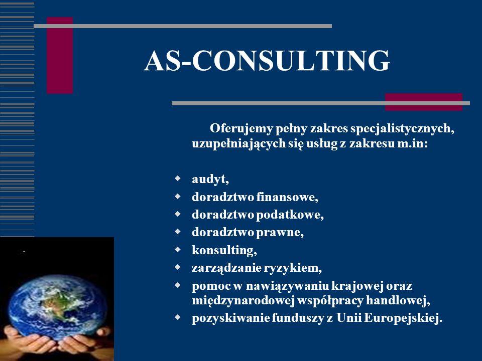 AS-CONSULTING Oferujemy pełny zakres specjalistycznych, uzupełniających się usług z zakresu m.in: audyt, doradztwo finansowe, doradztwo podatkowe, doradztwo prawne, konsulting, zarządzanie ryzykiem, pomoc w nawiązywaniu krajowej oraz międzynarodowej współpracy handlowej, pozyskiwanie funduszy z Unii Europejskiej.