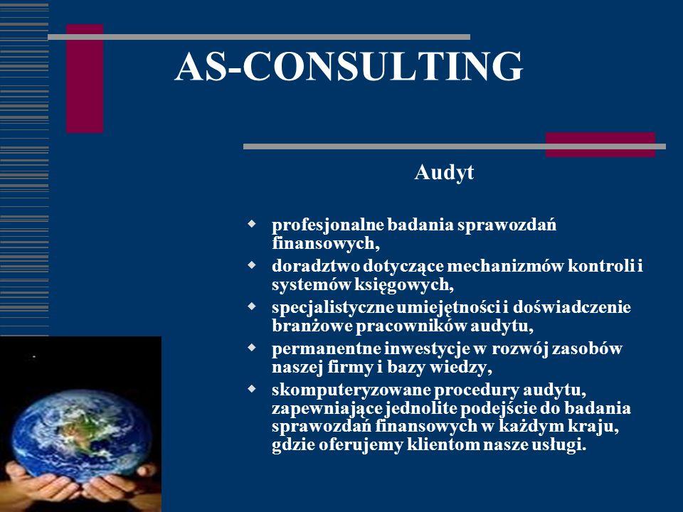 AS-CONSULTING Audyt profesjonalne badania sprawozdań finansowych, doradztwo dotyczące mechanizmów kontroli i systemów księgowych, specjalistyczne umiejętności i doświadczenie branżowe pracowników audytu, permanentne inwestycje w rozwój zasobów naszej firmy i bazy wiedzy, skomputeryzowane procedury audytu, zapewniające jednolite podejście do badania sprawozdań finansowych w każdym kraju, gdzie oferujemy klientom nasze usługi.