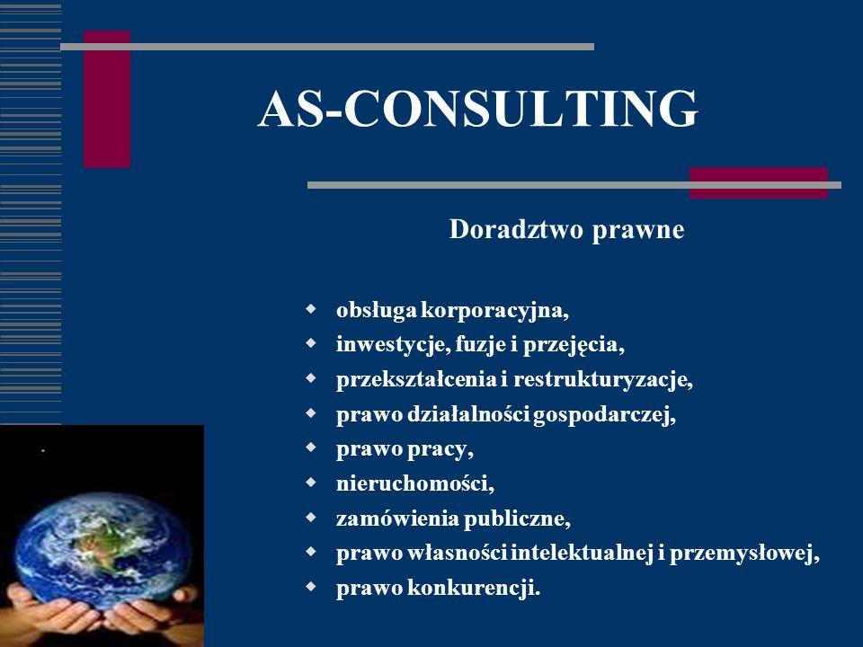 AS-CONSULTING Doradztwo prawne obsługa korporacyjna, inwestycje, fuzje i przejęcia, przekształcenia i restrukturyzacje, prawo działalności gospodarczej, prawo pracy, nieruchomości, zamówienia publiczne, prawo własności intelektualnej i przemysłowej, prawo konkurencji.