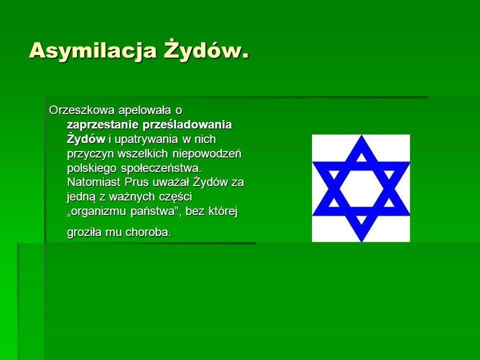 Asymilacja Żydów. Orzeszkowa apelowała o zaprzestanie prześladowania Żydów i upatrywania w nich przyczyn wszelkich niepowodzeń polskiego społeczeństwa