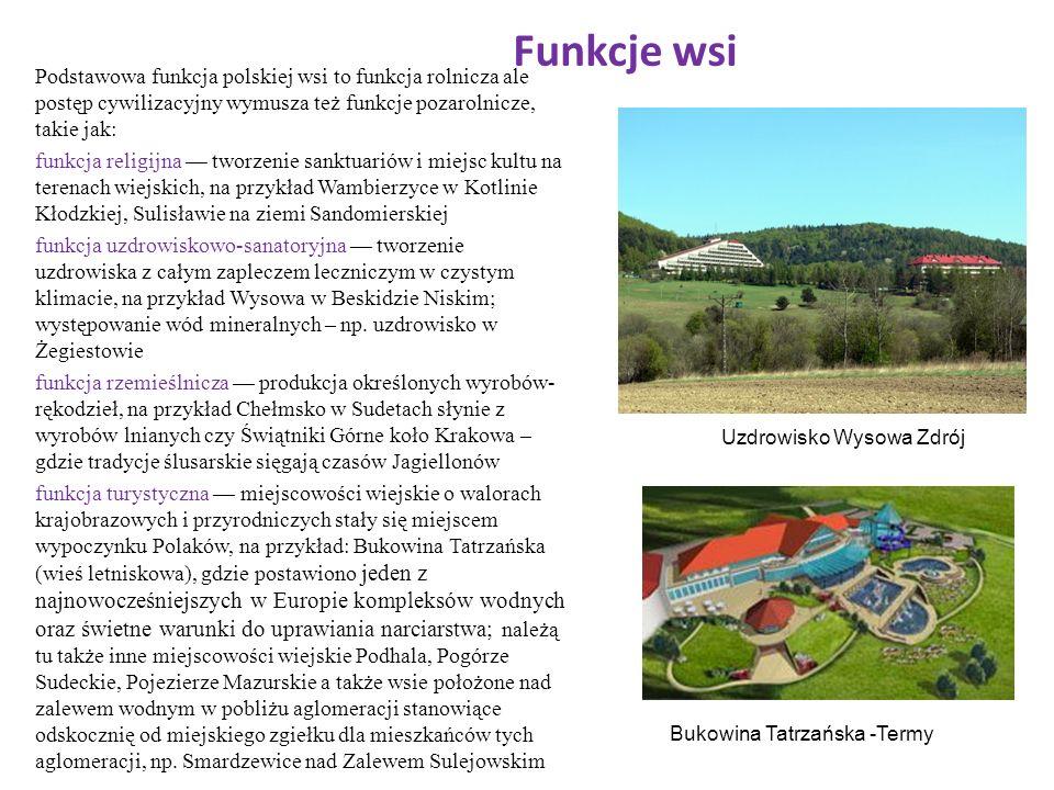 Funkcje wsi Podstawowa funkcja polskiej wsi to funkcja rolnicza ale postęp cywilizacyjny wymusza też funkcje pozarolnicze, takie jak: funkcja religijn