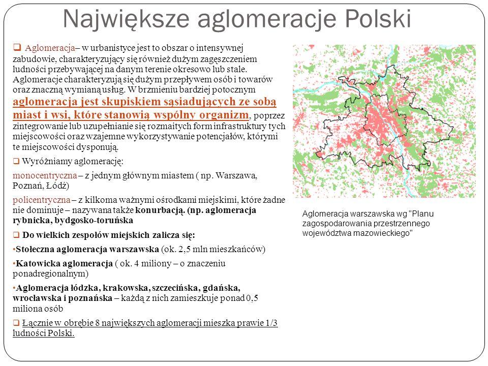 Największe aglomeracje Polski Aglomeracja– w urbanistyce jest to obszar o intensywnej zabudowie, charakteryzujący się również dużym zagęszczeniem ludn