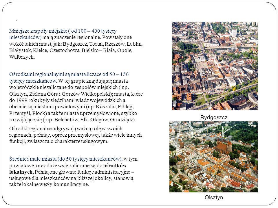 . Mniejsze zespoły miejskie ( od 100 – 400 tysięcy mieszkańców) mają znaczenie regionalne. Powstały one wokół takich miast, jak: Bydgoszcz, Toruń, Rze