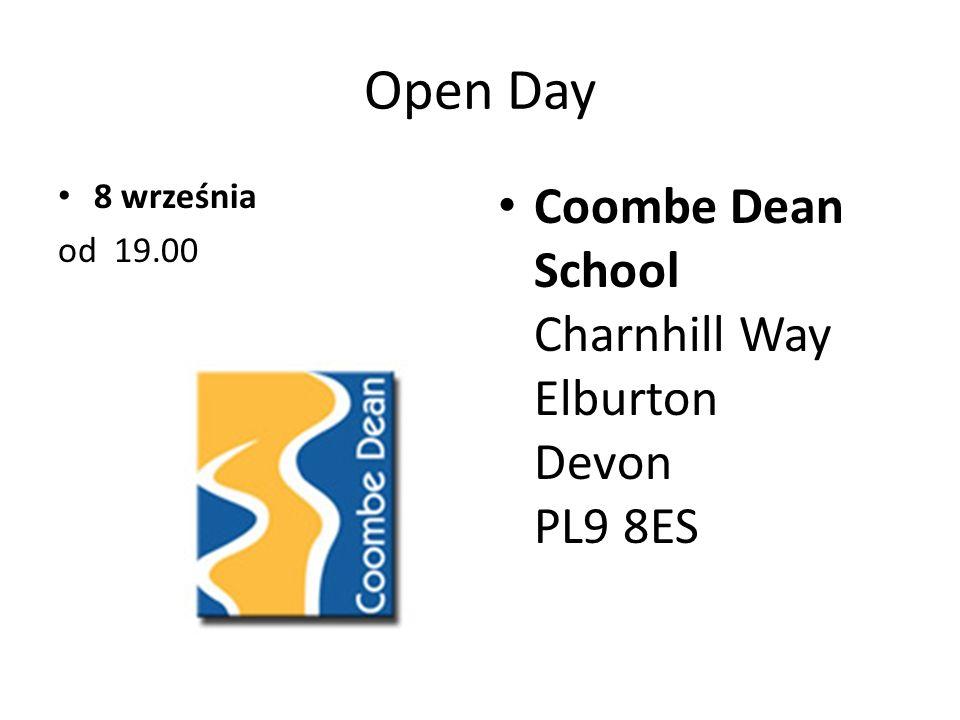 Open Day 8 września od 19.00 Coombe Dean School Charnhill Way Elburton Devon PL9 8ES
