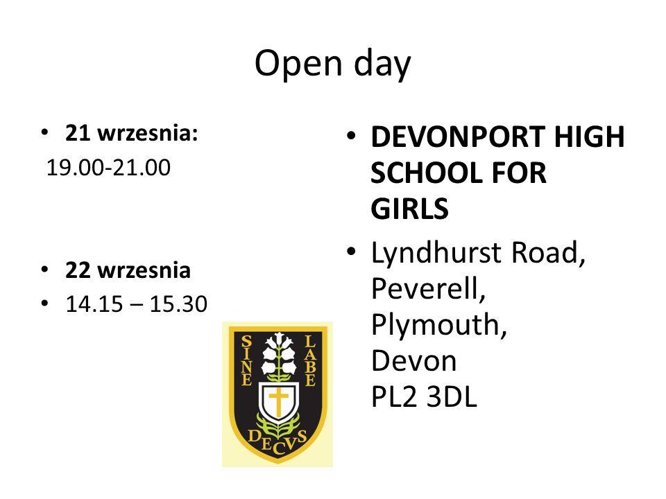Open day 6 wrzesnia 18.30-20.30 23 wrzesnia 15.45-17.15 Lipson Community College Bernice Terrace Plymouth Devon PL4 7PG