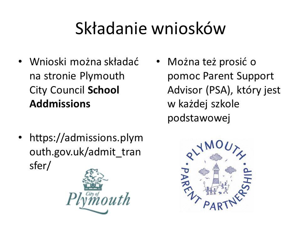 Składanie wniosków Wnioski można składać na stronie Plymouth City Council School Addmissions https://admissions.plym outh.gov.uk/admit_tran sfer/ Można też prosić o pomoc Parent Support Advisor (PSA), który jest w każdej szkole podstawowej