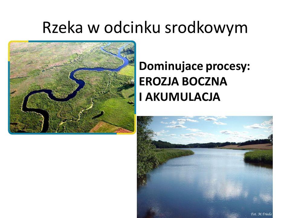 Rzeka w odcinku srodkowym Dominujace procesy: EROZJA BOCZNA I AKUMULACJA