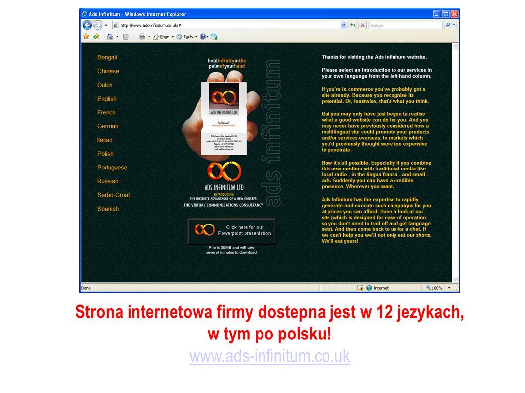 Strona internetowa firmy dostepna jest w 12 jezykach, w tym po polsku! www.ads-infinitum.co.uk