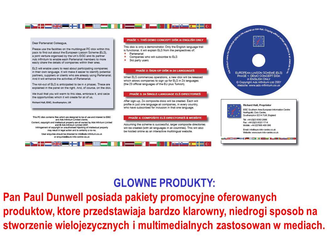 GLOWNE PRODUKTY: Pan Paul Dunwell posiada pakiety promocyjne oferowanych produktow, ktore przedstawiaja bardzo klarowny, niedrogi sposob na stworzenie wielojezycznych i multimedialnych zastosowan w mediach.