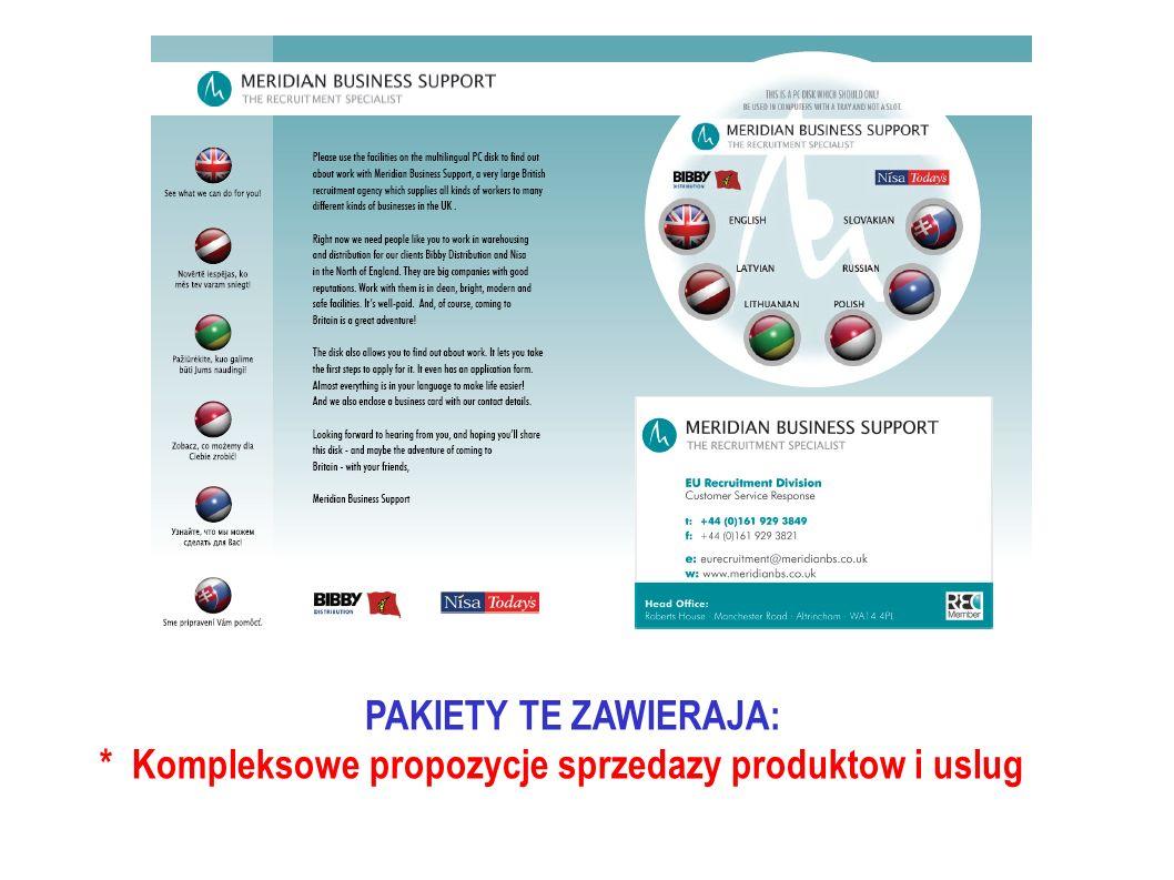 PAKIETY TE ZAWIERAJA: * Kompleksowe propozycje sprzedazy produktow i uslug