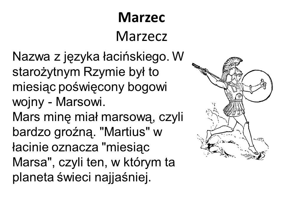 Marzec Marzecz Nazwa z języka łacińskiego. W starożytnym Rzymie był to miesiąc poświęcony bogowi wojny - Marsowi. Mars minę miał marsową, czyli bardzo