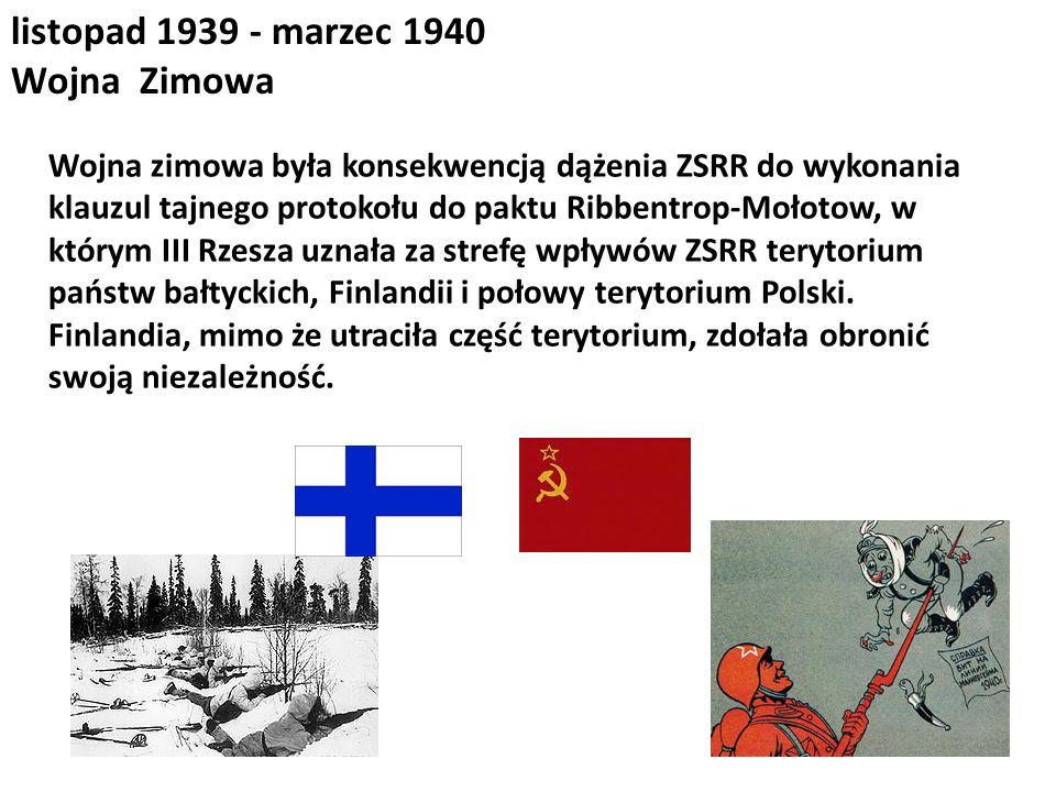 listopad 1939 - marzec 1940 Wojna Zimowa Wojna zimowa była konsekwencją dążenia ZSRR do wykonania klauzul tajnego protokołu do paktu Ribbentrop-Mołoto