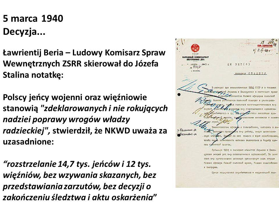 Ławrientij Beria – Ludowy Komisarz Spraw Wewnętrznych ZSRR skierował do Józefa Stalina notatkę: Polscy jeńcy wojenni oraz więźniowie stanowią