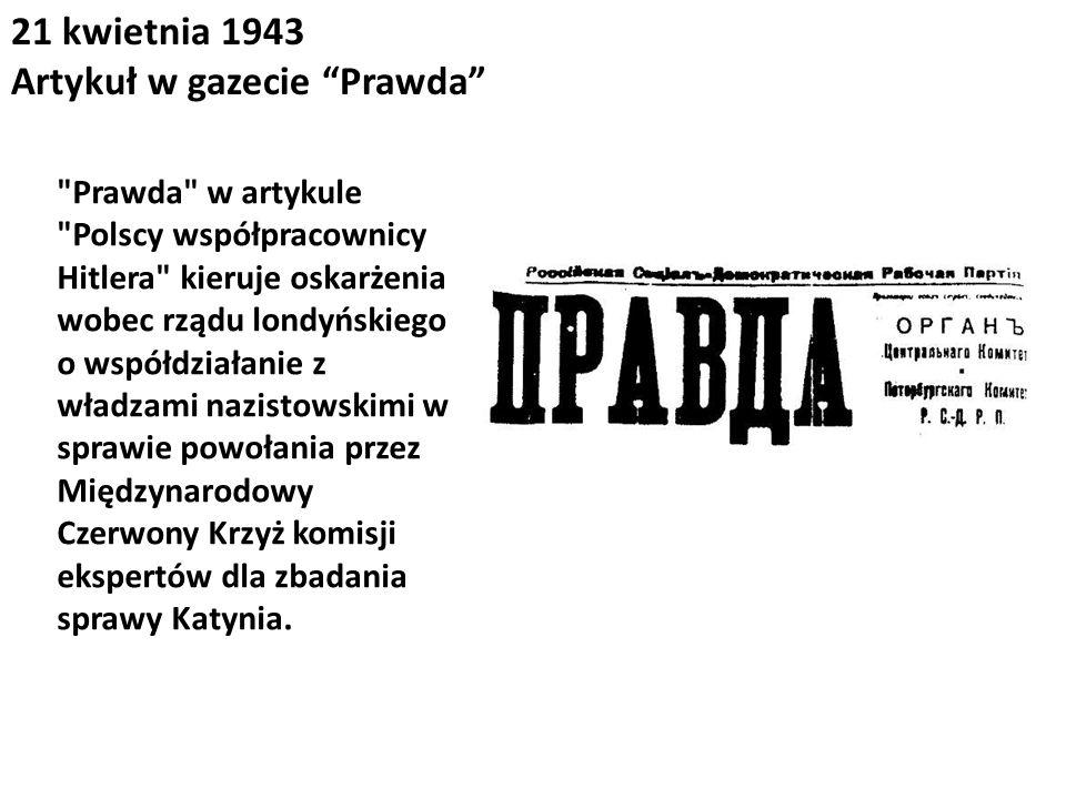 21 kwietnia 1943 Artykuł w gazecie Prawda