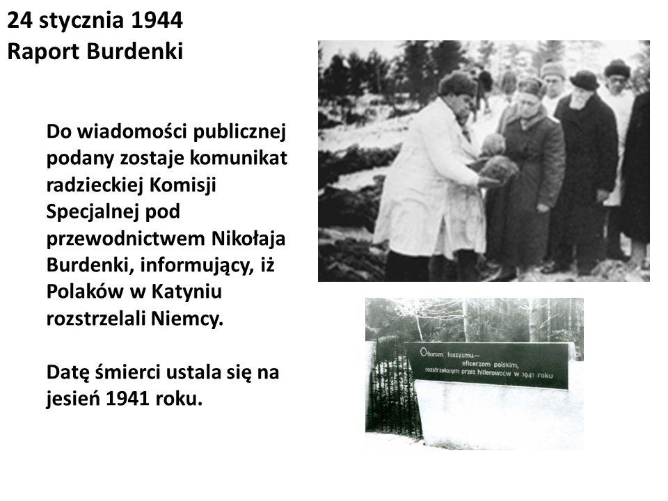 24 stycznia 1944 Raport Burdenki Do wiadomości publicznej podany zostaje komunikat radzieckiej Komisji Specjalnej pod przewodnictwem Nikołaja Burdenki
