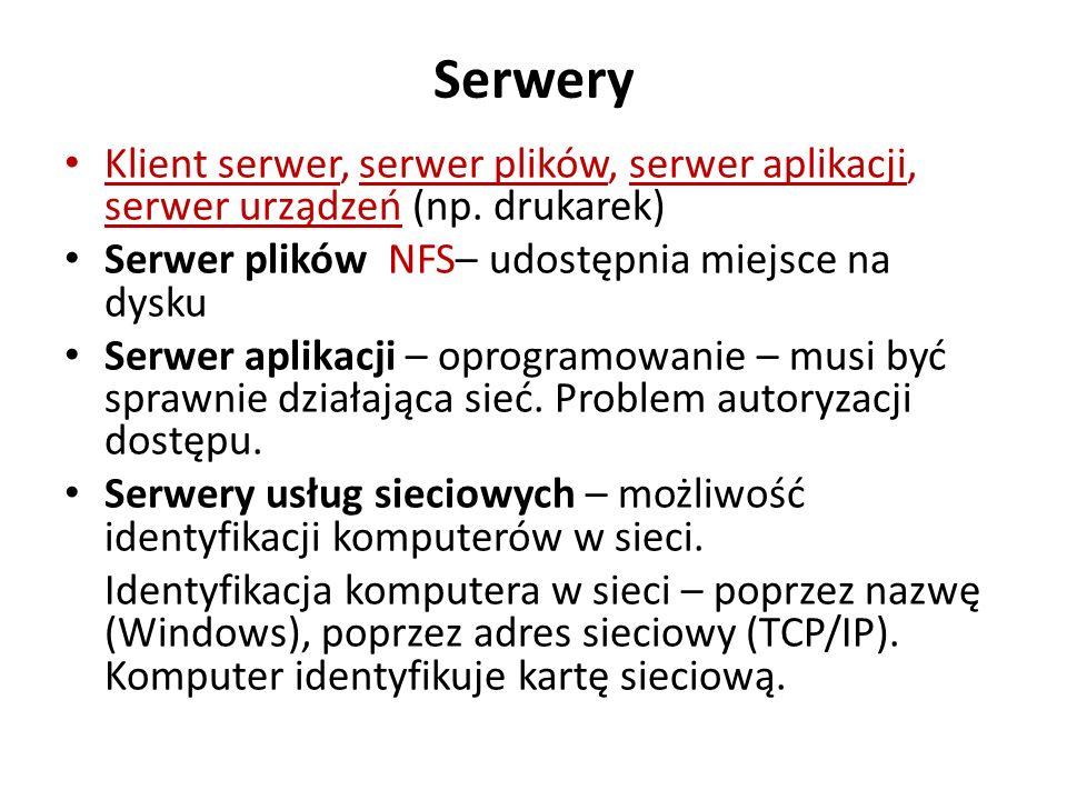Serwery Klient serwer, serwer plików, serwer aplikacji, serwer urządzeń (np. drukarek) Serwer plików NFS– udostępnia miejsce na dysku Serwer aplikacji