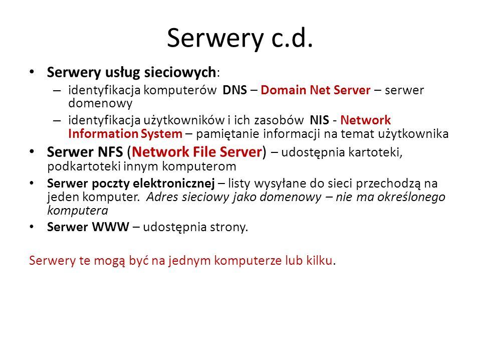 Serwery c.d. Serwery usług sieciowych : – identyfikacja komputerów DNS – Domain Net Server – serwer domenowy – identyfikacja użytkowników i ich zasobó