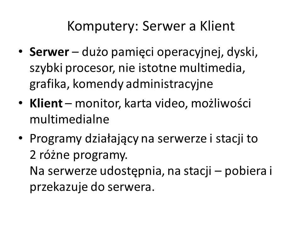 Komputery: Serwer a Klient Serwer – dużo pamięci operacyjnej, dyski, szybki procesor, nie istotne multimedia, grafika, komendy administracyjne Klient